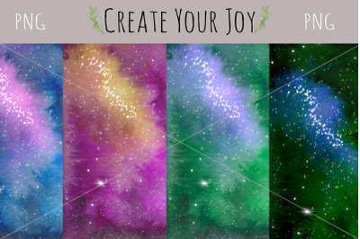 Watercolor Galaxy Background | 4 PNG files