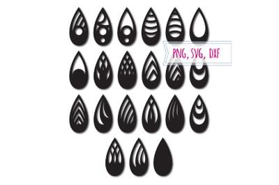 Earrings svg 21 items. Tear drop earrings. Pendant