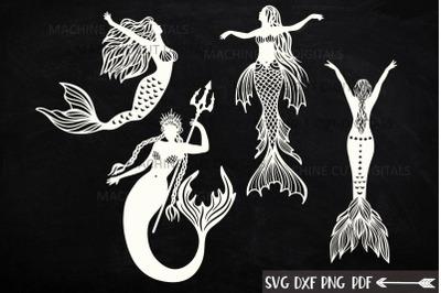 Mermaids Silhouette Bundle svg dxf machine cut templates