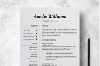Modern Resume Template / Professional CV Design - Amelie