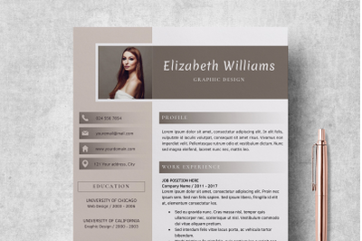 Resume Template for Word and Pages / CV Template - Elizabeth