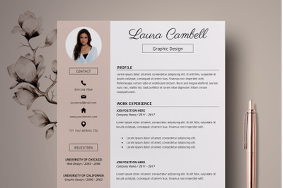 Modern Resume Template / CV Template for MS Word - Laura