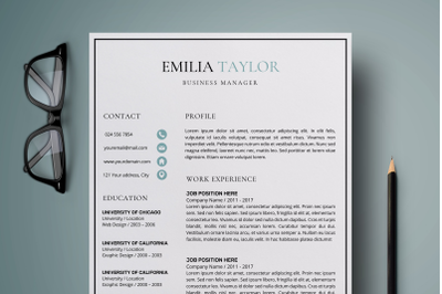 Resume Template / Creative Resume Design - Emilia