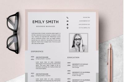 Modern Resume Template / CV Template + Cover Letter - Emily
