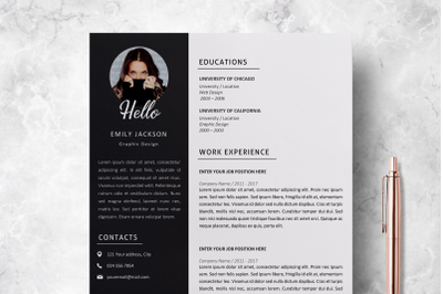 Professional Resume Template / Resume with Photo - Emily