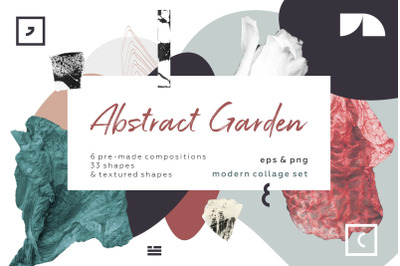 Abstract garden. Modern collage set.