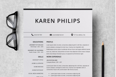 Resume Template Instant Download / Standard CV Format - Karen