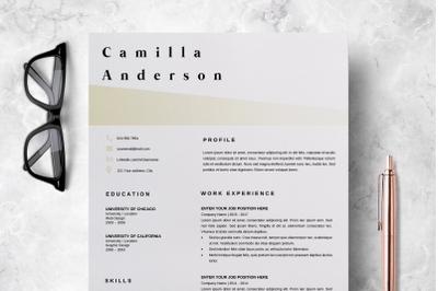 Resume Template Microsoft Word / Professional CV Layout - Camilla