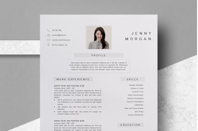 Simple CV Template Word / Resume with Photo Template - Jenny