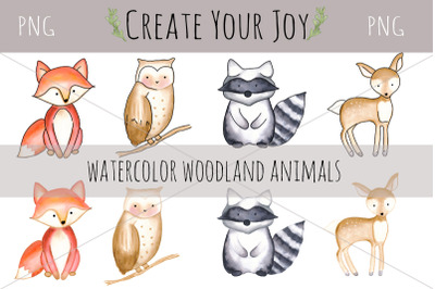 Watercolor Woodland Animals | PNG with Printable Designs Included