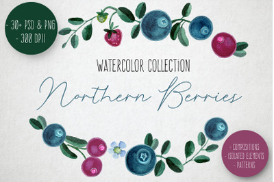 Nothern Berries Watercolor Clipart Set