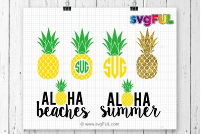 Pineapple Monogram Frame Svg, Aloha Beaches, Glitter Pineapple Svg, Pi