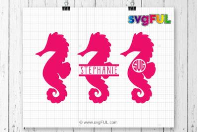 Seahorse Svg, Seahorse Monogram Svg, Seahorses, Split Seahorse, SVG Fi