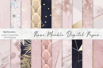 Rose Gold Marble Digital Paper