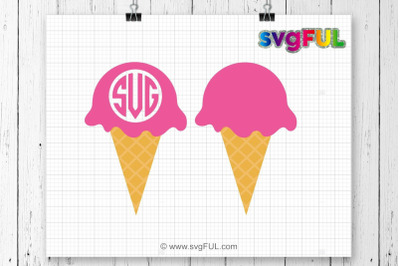 Ice Cream SVG, Ice Cream Monogram Svg, Summer Svg, Cricut Cutting File