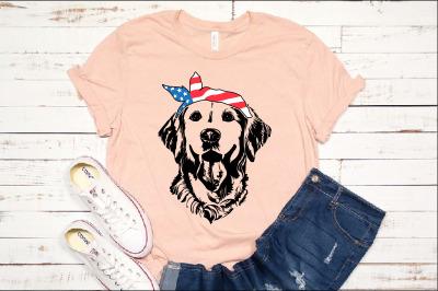 Lab SVG Labrador USA Bandana mask United States Flag Dog 4th July 1374