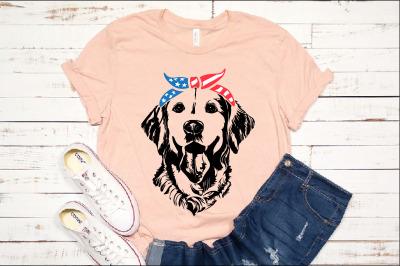 Lab SVG Labrador USA Bandana mask United States Flag Dog 4th July 1375