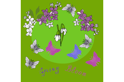 Lilac,snowdrops and butterflies with beautiful letters.  Template for