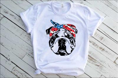 Bulldog USA Bandana mask United States Flag 4th July Bulldogs 1376s