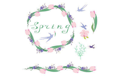 . Flower spring templates for romantic and Easter design, ads, greetin