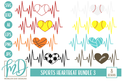 Sports Heartbeat SVG Bundle 3