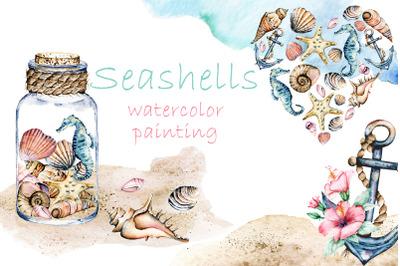 Sea shells watercolor set. Hand drawn marine, beach, tropical design.
