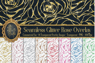 16 Seamless Glitter Rose Net Overlay Digital Images PNG