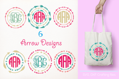 Arrow Monogram Frames Svg cutting file, arrow Designs SVG, DXF, Cricut Design Space, Silhouette Studio,Digital Cut Files