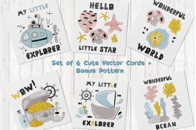 Cartoon Sea Animals - vector cards 02