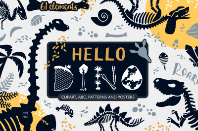 Dinosaur skeletons vector clipart, alphabet, patterns and posters
