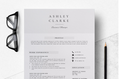 Resume Template 5 pages / Professional Resume Design - Ashley