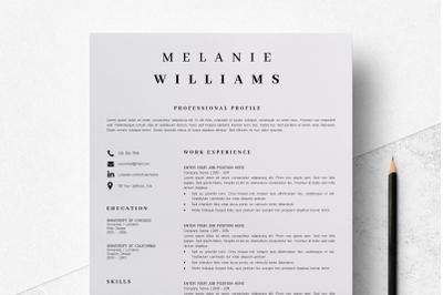 Resume Template Minimalist | CV Template Word 4 page - Melanie