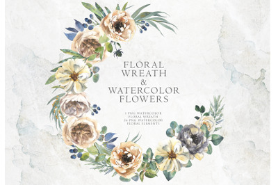 Delicate watercolor flowers and floral wreath