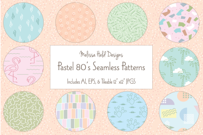 Pastel 80's Seamless Patterns
