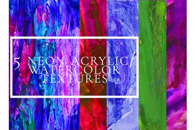 5 neon acrylic/ watercolor textures