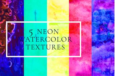 5 neon watercolor textures