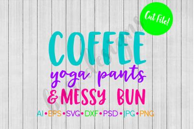 Coffee SVG, Mascara SVG, Messy Bun SVG, SVG File, DXF