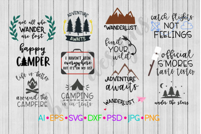 Adventure SVG Bundle,  Camp SVG, Travel SVG, SVG File, DXF
