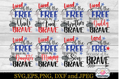 SVG, Dxf, Png & Eps Land of the Free Because of the Brave Bundle, Memorial Day, Fourth of July, Independence Day