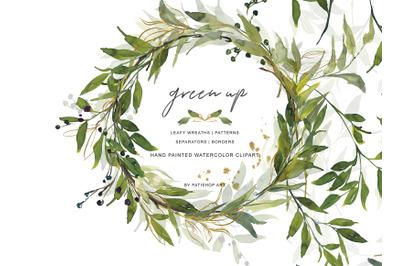 Watercolor Leafy Wreaths -Watercolor Greenery - Leafy Borders