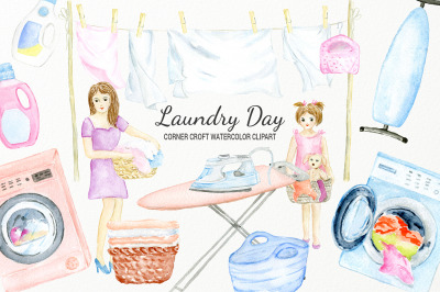 Watercolor laundry day clipart for instant downloadWatercolor laundry