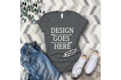 Dark Heather Grey Adult T-Shirt/ T-Shirt Mock-up, Bella Canvas T-Shirt