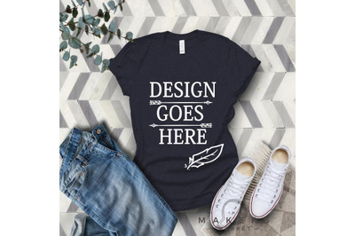 Navy Adult T-Shirt/ T-Shirt Mock-up, Bella Canvas T-Shirt