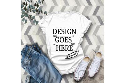 White Adult T-Shirt/ T-Shirt Mock-up, Bella Canvas T-Shirts/ 3001T T-S