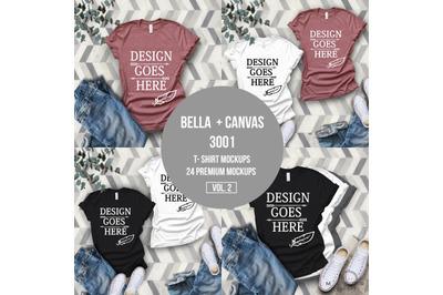 T-Shirt Mock-up, Bella Canvas T-Shirts/ 3001T T-Shirt Mockup/ Mega Bun