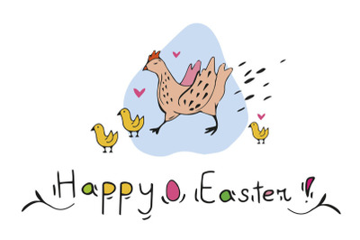 Happy Easter funny Hen CARD + BONUS