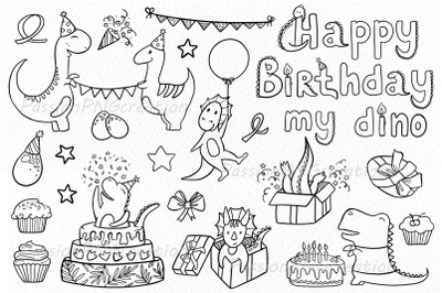 Doodle Birthday Dino Clipart