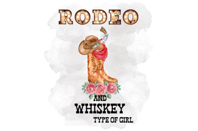 Rodeo And Whiskey Type Of Girl, Watercolor Clipart