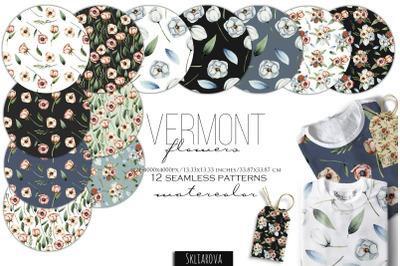 Vermont flowers. 12 Seamless patterns.