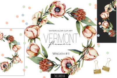 Vermont flowers. Wreath #1.